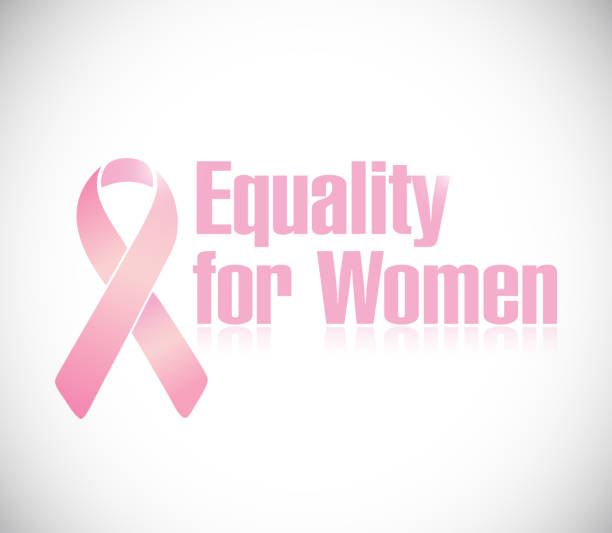 Equality for women pink ribbon illustration design Equality for women pink ribbon illustration design over a white background discriminatory stock illustrations