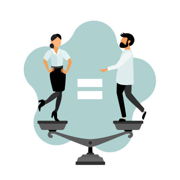 Equality. Equality. Flat vector  cartoon characters. Business people. Woman and man. Anti sexism. equality stock illustrations
