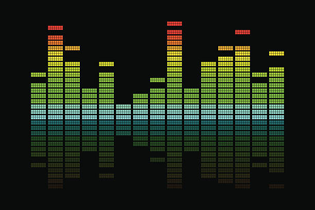 Equalizer 2D Vector illustration background of colorful equalizer pattern. sound mixer stock illustrations