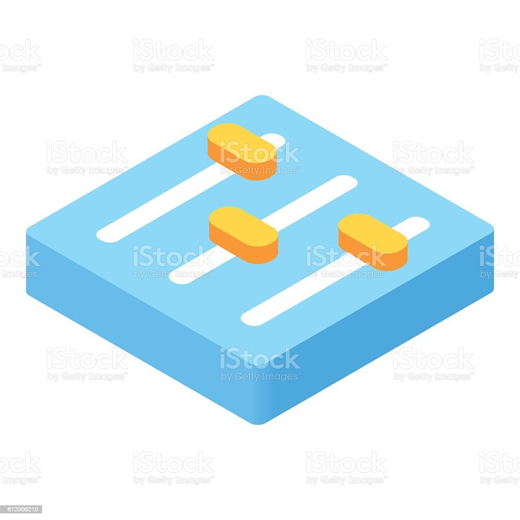 Equalizer button isometric 3d icon vector art illustration
