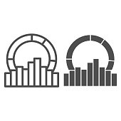 Equalizer effect and diagram line and solid icon, Sound design concept, Sound wave sign on white background, Audio equalizer icon in outline style for mobile concept and web design. Vector graphics