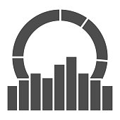 Equalizer effect and diagram solid icon, Sound design concept, Sound wave sign on white background, Audio equalizer icon in glyph style for mobile concept and web design. Vector graphics