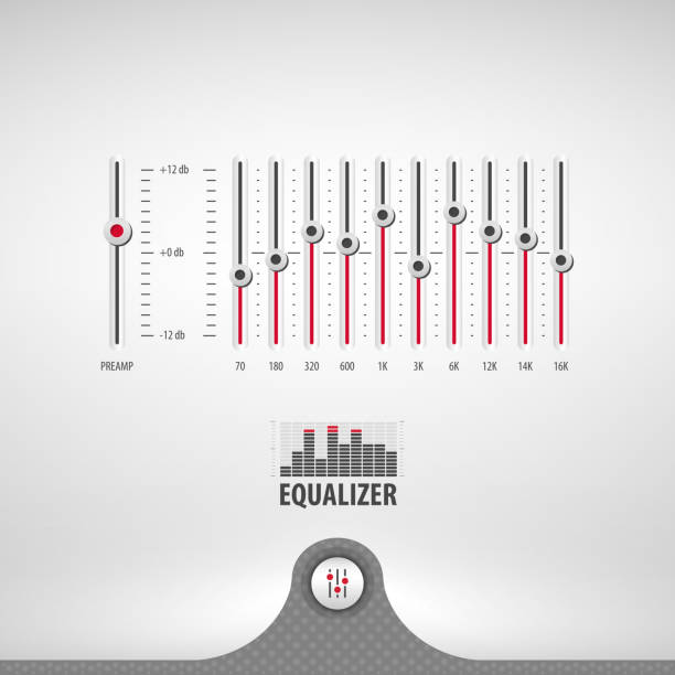 equalizer for media player equalizer for media player containing: two audio app designs, equalizer panel, 3d button, textured pattern, stainless steel background, eps10 vector illustration sound mixer stock illustrations
