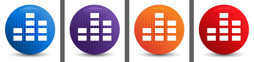 Equalizer icon abstract halftone round button set