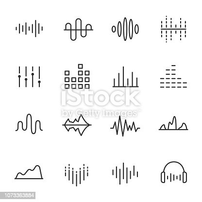 Equalizer, icon set. Sound wave, editable stroke