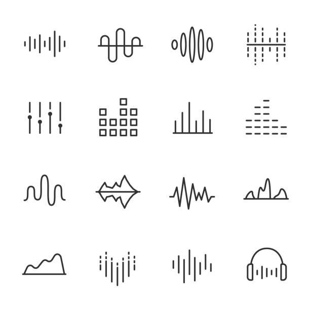 イコライザー、アイコンを設定します。サウンド ウェーブ、線形アイコン。編集可能なストロークで行します。 - 音響点のイラスト素材/クリップアート素材/マンガ素材/アイコン素材