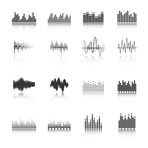 equalizer icons Audio equalizer sound wave fragment black icons set in various amplitude and shapes abstract isolated vector illustration sine wave stock illustrations