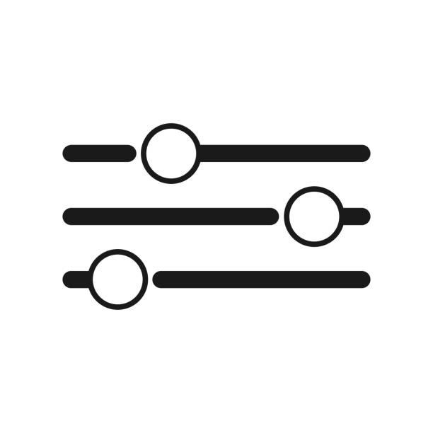 illustrazioni stock, clip art, cartoni animati e icone di tendenza di equalizer or setting icon collection vector - banchi di pesci