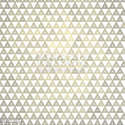 istock Equally sized, triple triangle outline, every second pattern with golden 3d reflection. Pattern background illustration. On white. 1273468026