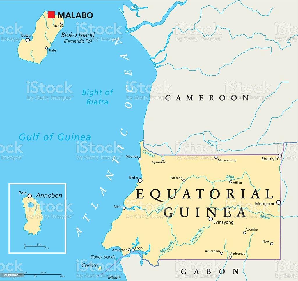 Afrika Karta Guinea.Equatorial Guinea Political Map Vektorgrafik Och Fler Bilder Pa