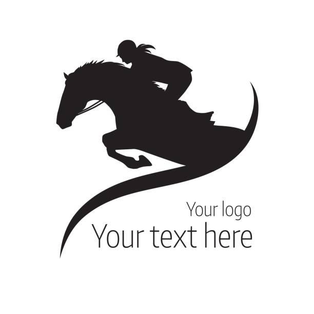 bildbanksillustrationer, clip art samt tecknat material och ikoner med hästtävlingar - vektorillustration av häst - logotyp - häst tävling