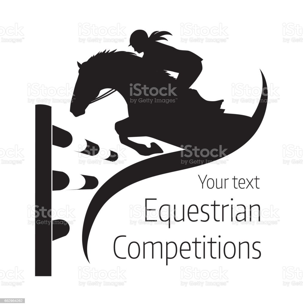 Equestrian competitions - vector illustration of horse - logo vector art illustration