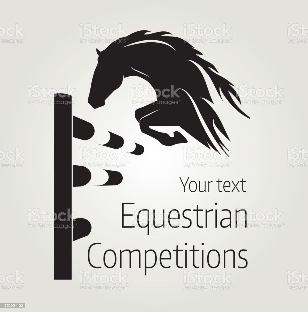 Equestrian competitions - vector illustration of horse - poster vector art illustration
