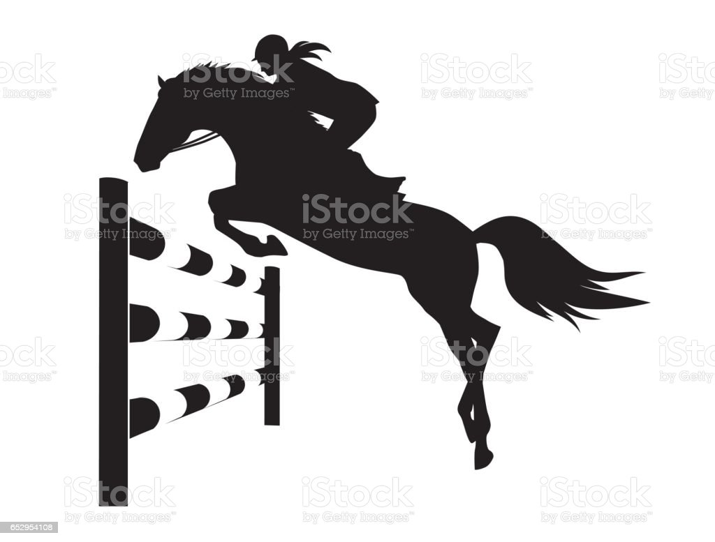 Equestrian competitions - vector illustration of horse vector art illustration