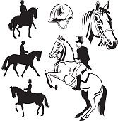 Equestrian Dressage - Drawings and Silhouettes