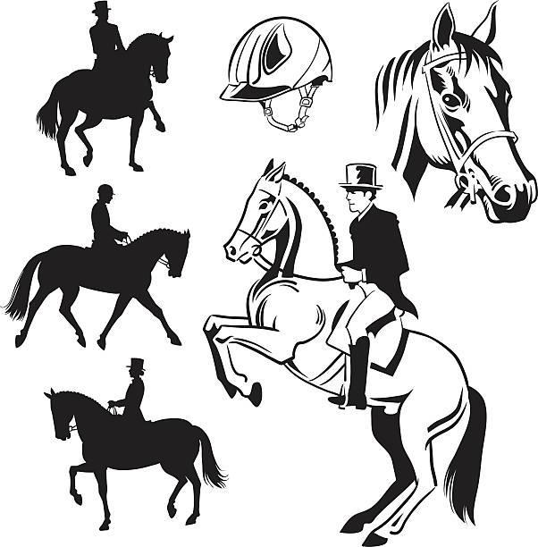 equestrian dressurreiten-zeichnungen und silhouetten - reiter stock-grafiken, -clipart, -cartoons und -symbole