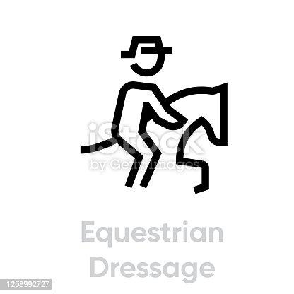 Equestrian Dressage icons. Editable stroke