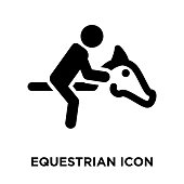 Equestrian icon vector isolated on white background, logo concept of Equestrian sign on transparent background, filled black symbol