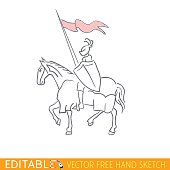 Equestrian Knight. Editable vector icon in free hand style