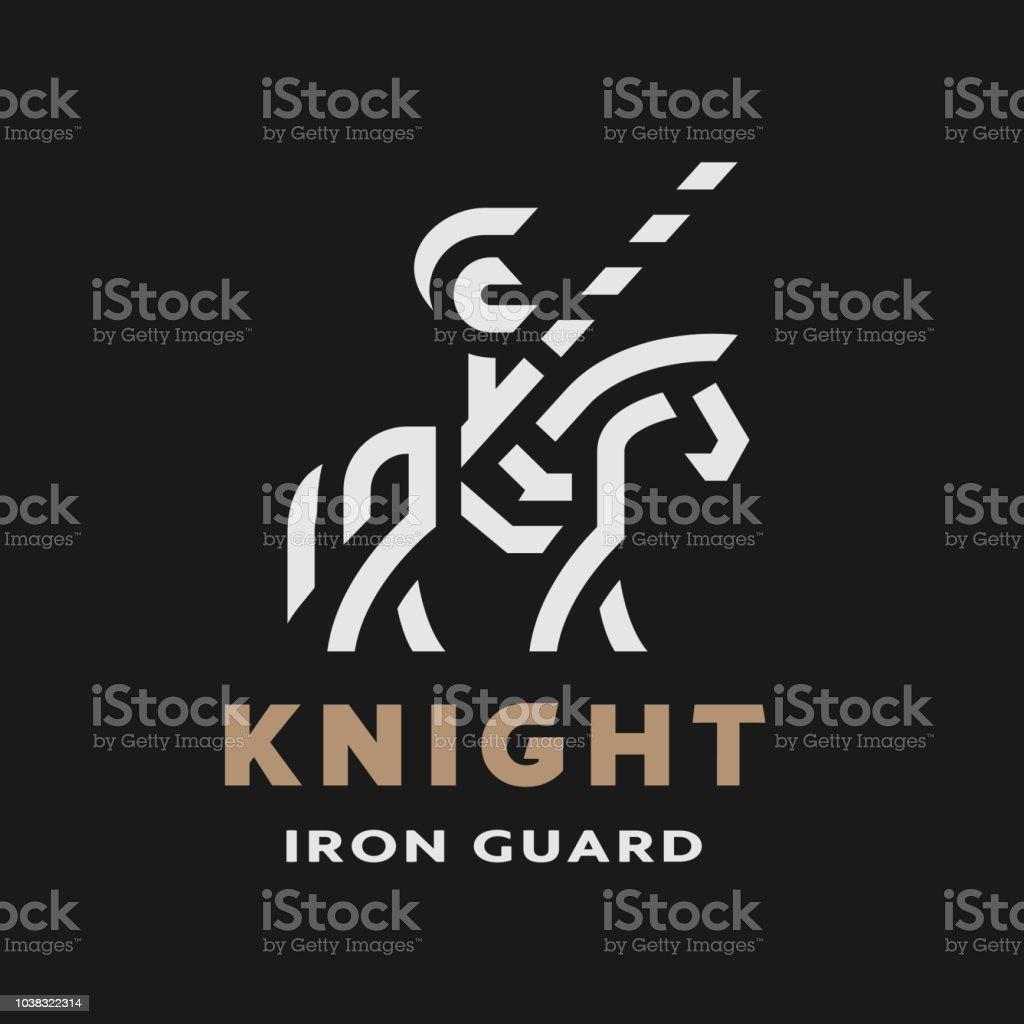 Atlı şövalye Doğrusal Logosu Karanlık Bir Arka Plan Sembolü Vektör