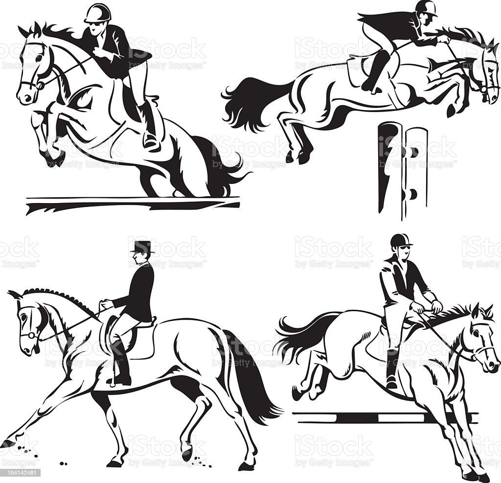 Equestrian - Show Jumping and Dressage vector art illustration