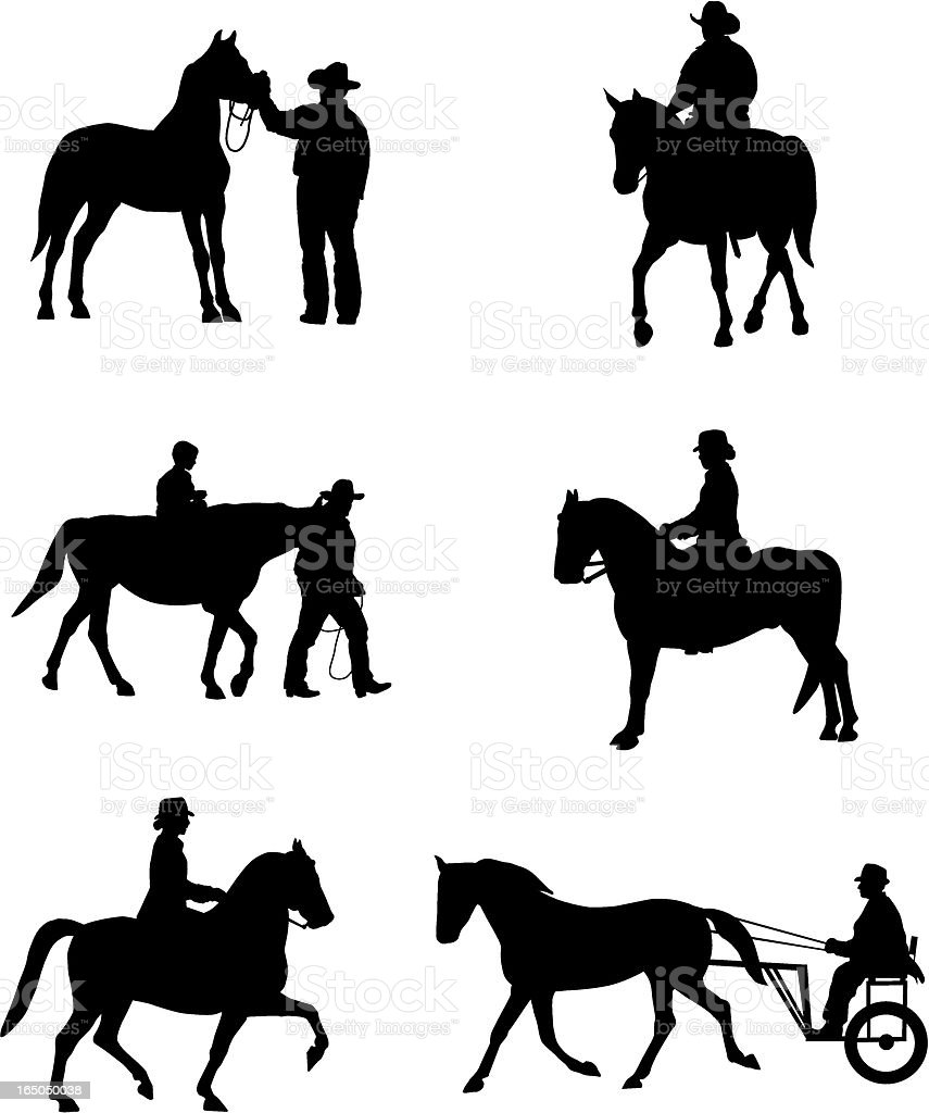 Equestrian Silouettes royalty-free stock vector art