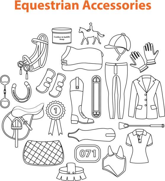 reitsport zubehör - funktionsjacke stock-grafiken, -clipart, -cartoons und -symbole