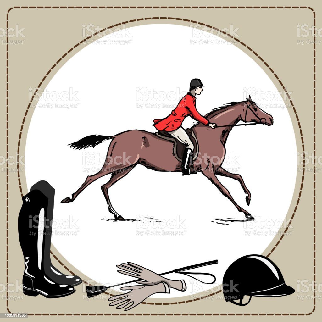 Equestrian Sport Horse Rider In Red Jacket England Steeplechase Style Derby In Leather Frame And Horse Riding Gear Tool Stock Illustration Download Image Now Istock