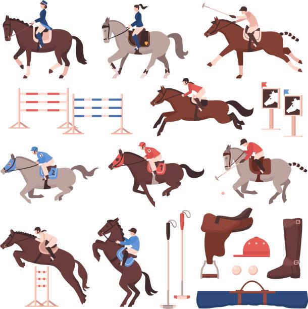 bildbanksillustrationer, clip art samt tecknat material och ikoner med ridsport ridning racing set - häst tävling