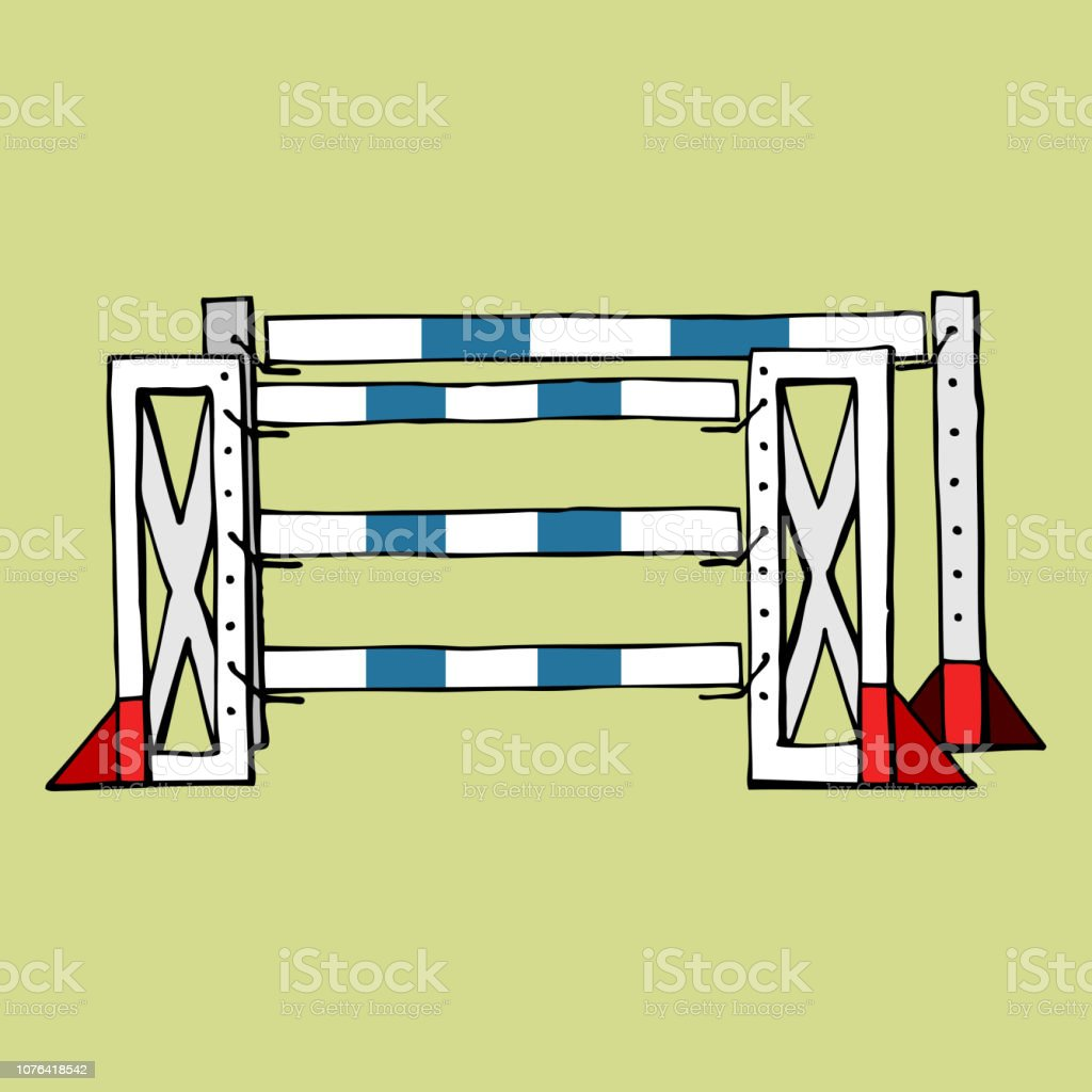 Equestrian Sport Jumping Isolated Obstacle Oxer Vector Flat Stock Illustration Download Image Now Istock