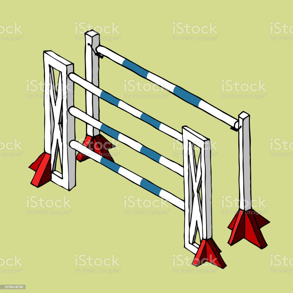 Equestrian Sport Jumping Isolated Obstacle Oxer Vector Isometry Stock Illustration Download Image Now Istock