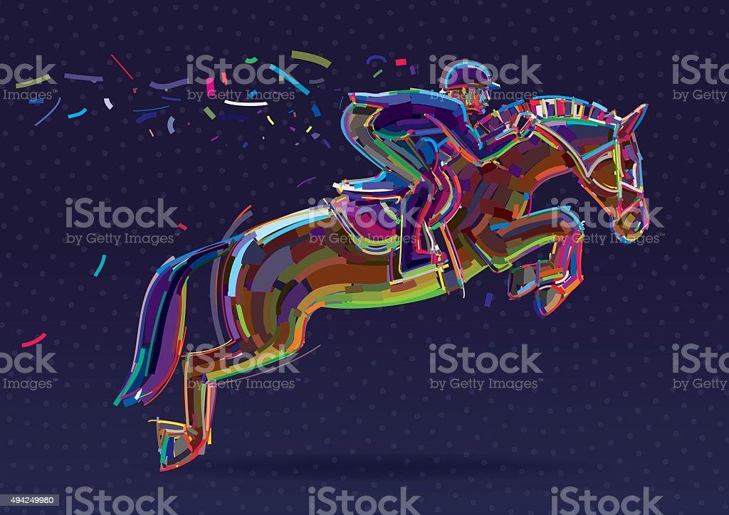 Equestrian sport- rider in jumping show. vector art illustration