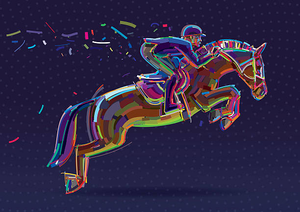 equestrian sport- rider in jumping show. - horse racing stock illustrations