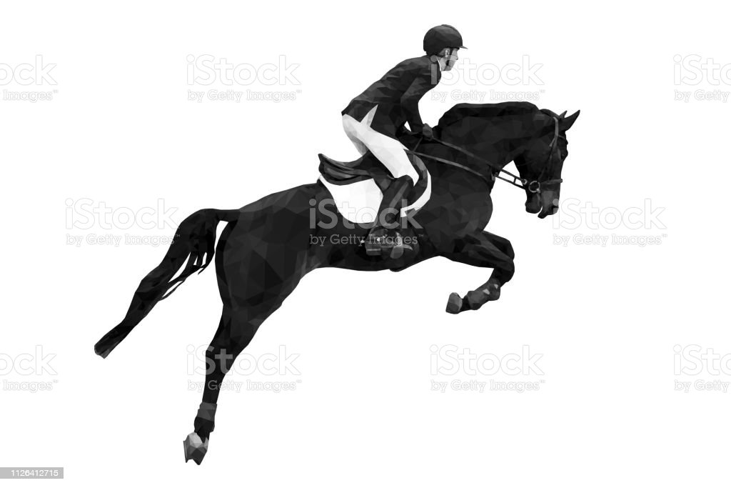 Equestrian Sport Rider On Horse Jumping Black White Image Stock Images Page Everypixel