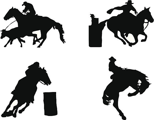 equestrian sports: rodeo - rodeo stock illustrations, clip art, cartoons, & icons