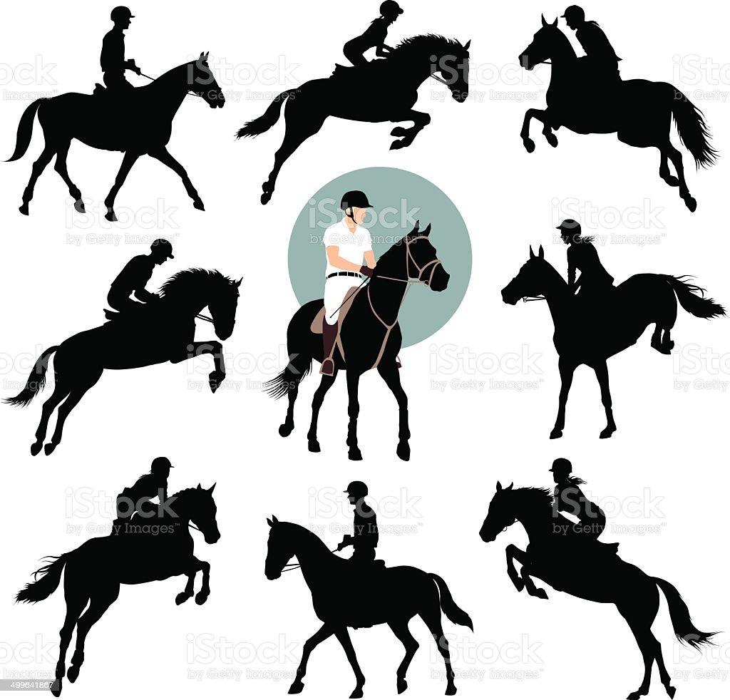 Equestrian sports vector art illustration