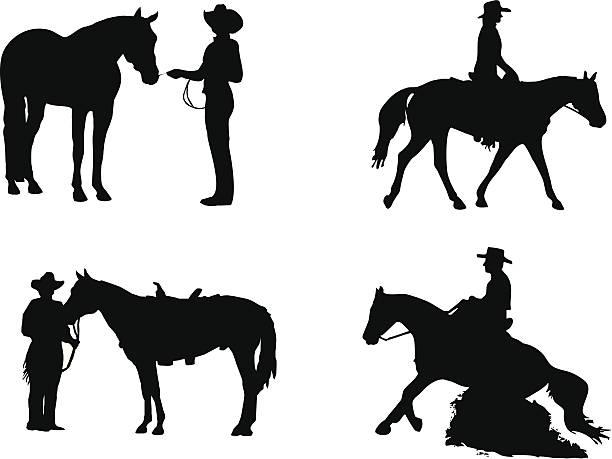 bildbanksillustrationer, clip art samt tecknat material och ikoner med equestrian sports: western - häst tävling