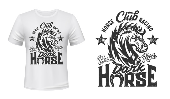 Equestrian t-shirt print with steed stallion