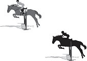 Vector of girl on equestrian course. Everything is on its own layer, you can easy change colours or separate objects.
