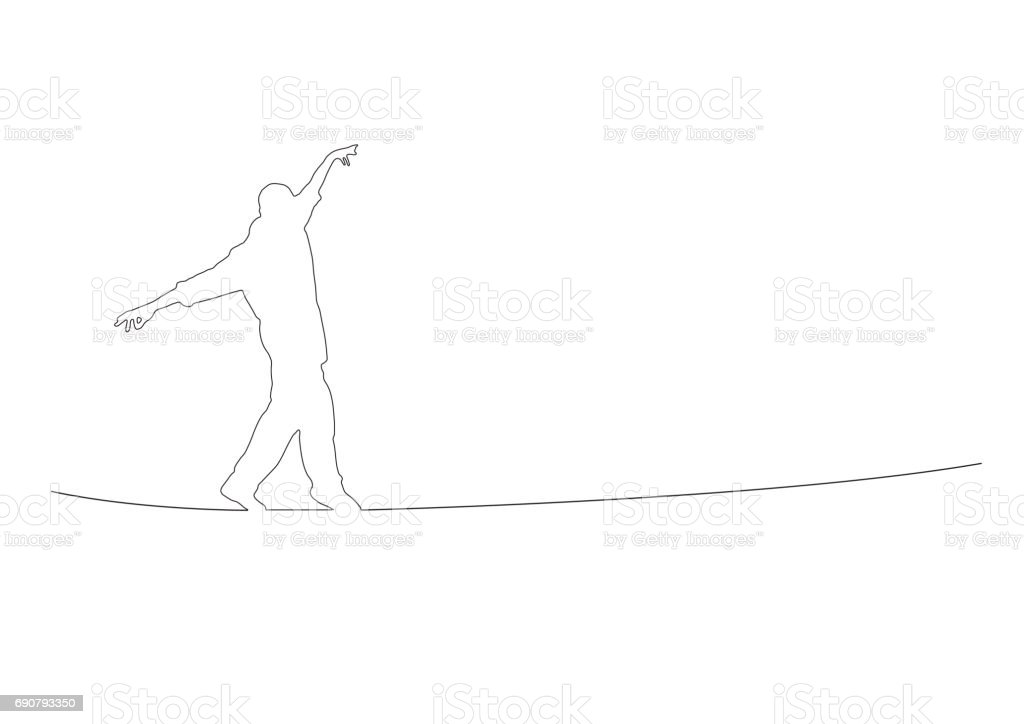 equilibrist, vector background, continues line banner, uninterrupted wire style向量藝術插圖