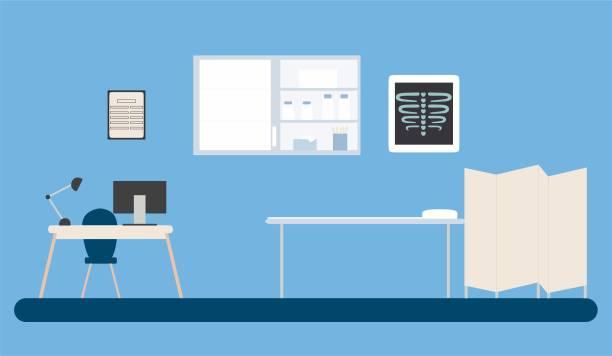 ilustrações, clipart, desenhos animados e ícones de equipar o consultório médico com mesa e armário de remédios - consultório médico