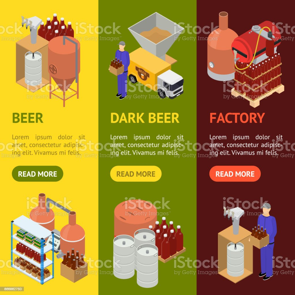 Equipment and Beer Production Banner Vecrtical Set Isometric View. Vector vector art illustration
