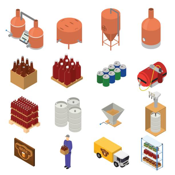 equipment and beer production set isometric view. vector - brewery tanks stock illustrations
