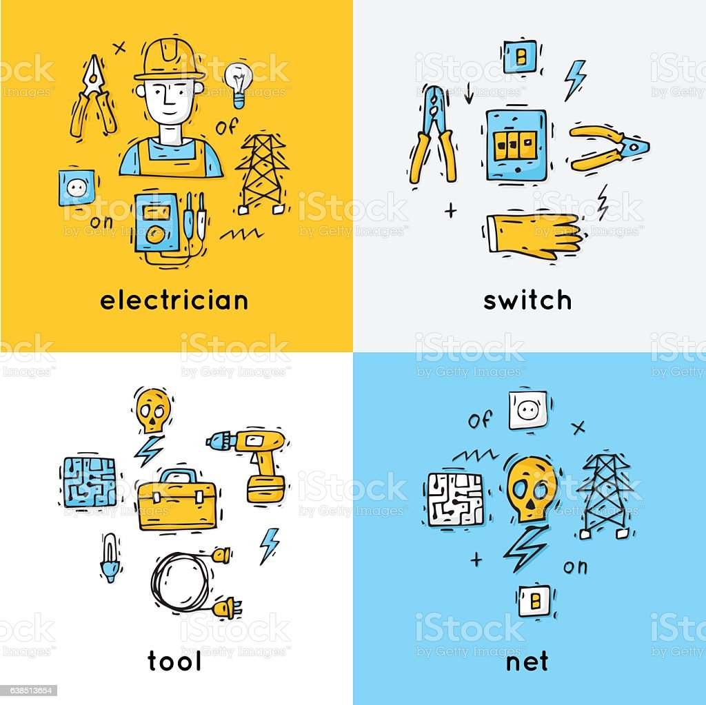 Equipment and tools electrician. vector art illustration