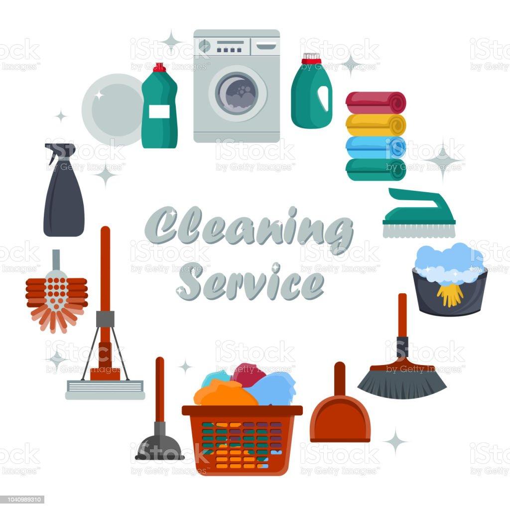 Ilustración De Concepto De Servicio De Limpieza De Equipos Plantilla