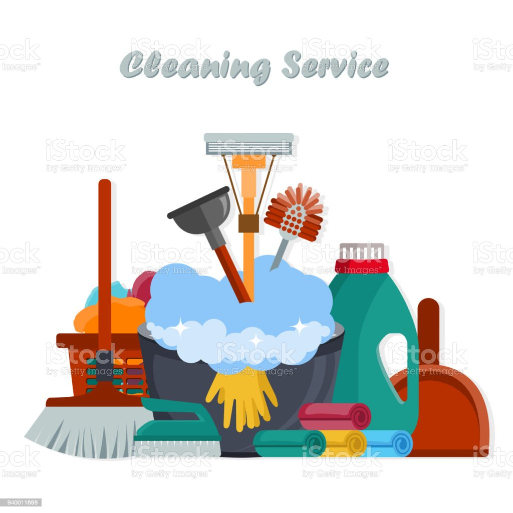 Equipment Cleaning Service Concept. Poster Template For House Cleaning  Services With Various Tools. Flat