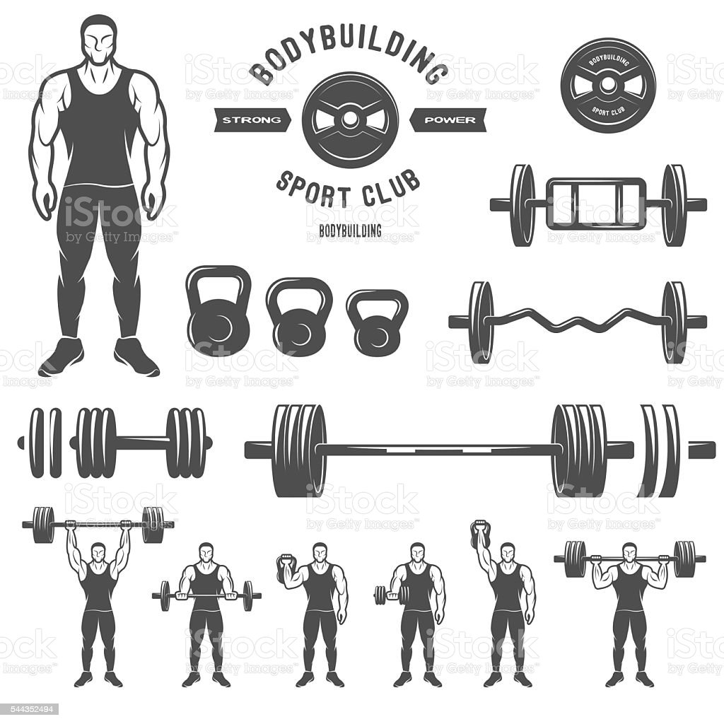 Equipment for bodybuilding and exercise. vector art illustration