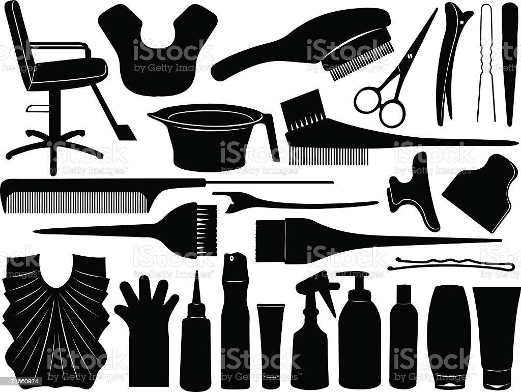 Equipment for hair dying vector art illustration