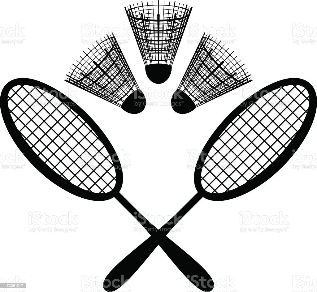 Equipment for the badminton, silhouette royalty-free stock vector art