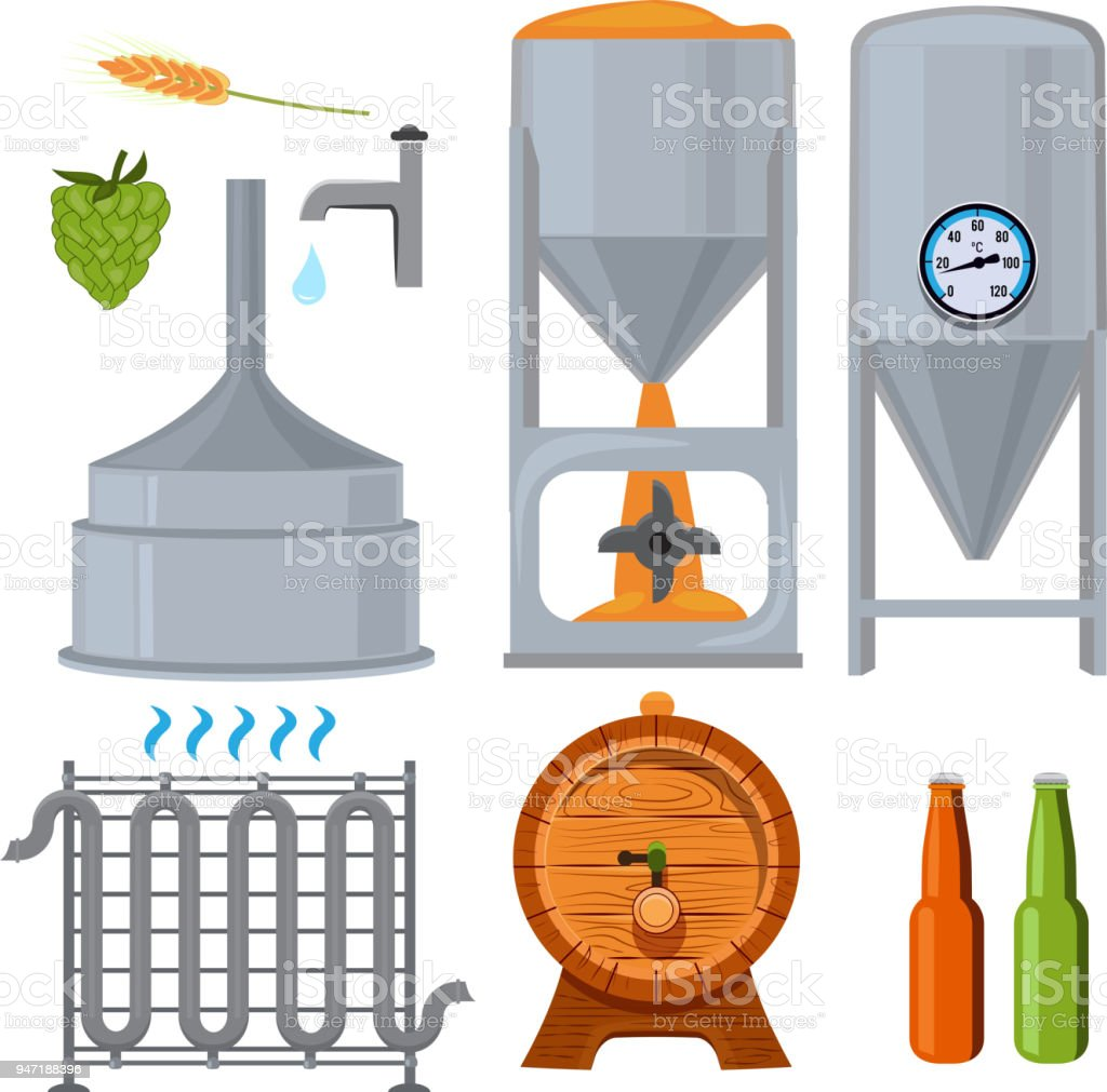 Equipment for the brewery. Pictures in cartoon style vector art illustration